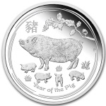 PIG LUNAR YEAR SERIES 1 OZ SILVER PROOF COIN 1$ AUSTRALIA 2019