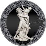 RAPE OF PROSERPINA TWO SIDED MARBLE EFFECT 2 OZ SILVER COIN 10$ PALAU 2018
