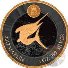 Blue Marlin 1 Oz Gold Black Empire Silver Coin Cayman
