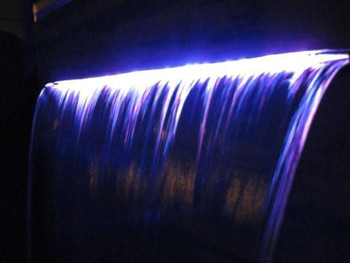 1200mm Wide Stainless Steel Spillway 316 Grade with Multi-Colour LED light bar. Suitable for Swimming pool or Free standing water feature projecting effect set up.