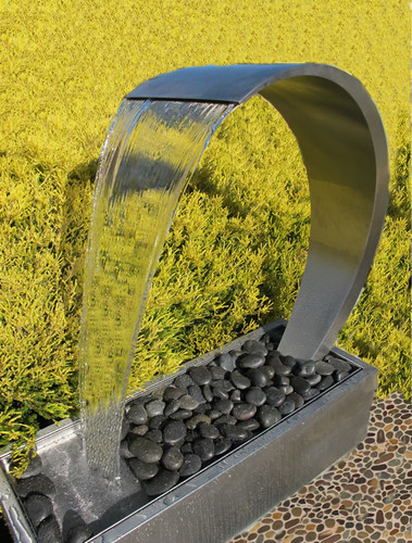 Wave Stainless Steel Water Feature Freestanding