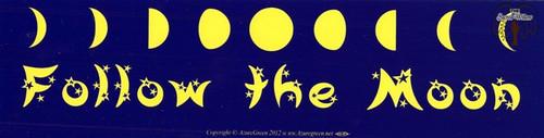 Follow The Moon bumper sticker 29cm x 7.5cm