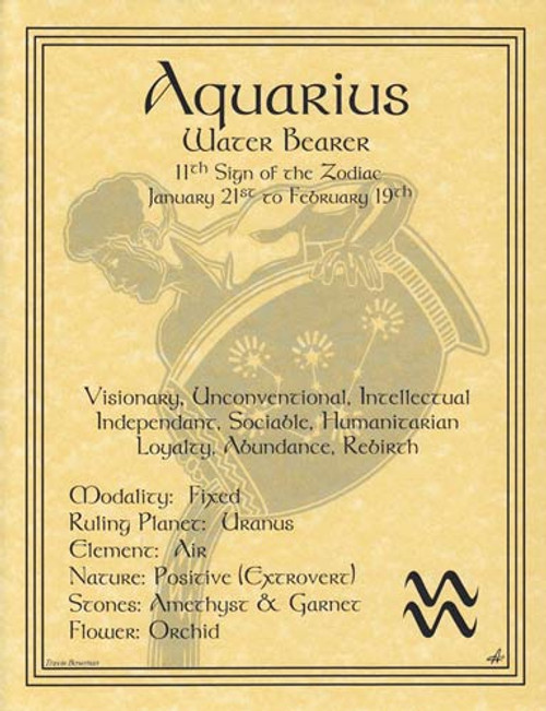 Aquarius Zodiac Poster on Parchment A4