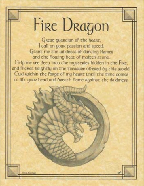 Fire Dragon Poster on Parchment A4