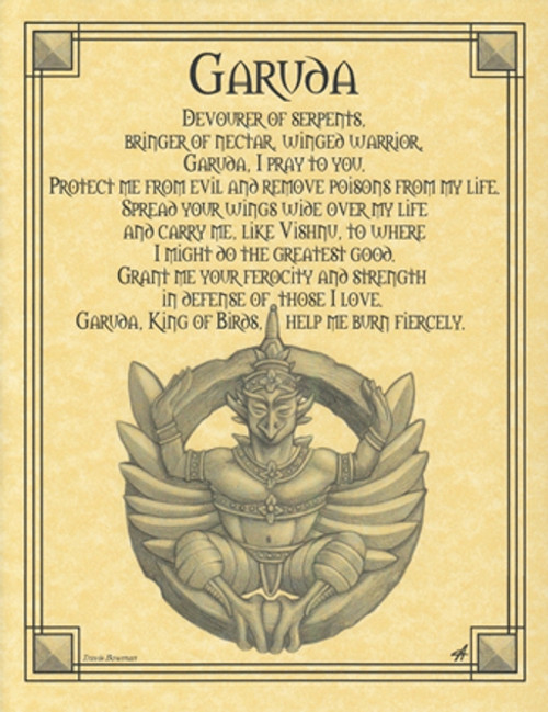 Garuda Poster on Parchment A4
