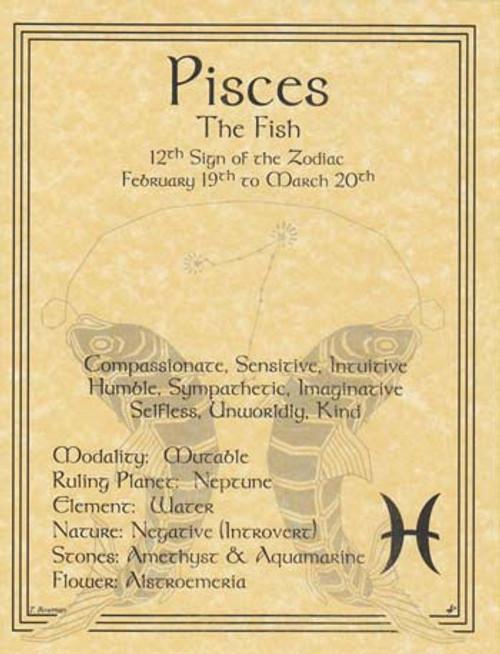 Pisces Zodiac Poster on Parchment A4