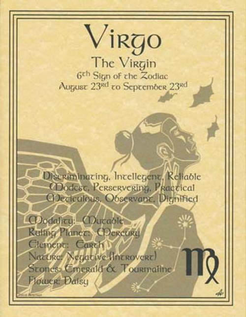 Virgo Zodiac Poster on Parchment A4