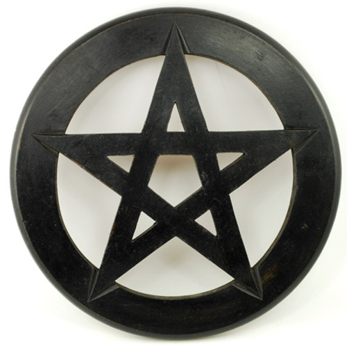 Black Wooden Pentagram wall hanging 22.5cm