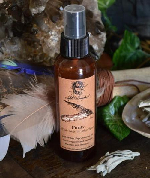 Purity is our white sage smudge spray, to be used in place of a smudge stick when you can't have smoke or incense and is also perfect for those travelling. Created using pure white sage essential oil and hydrosol to clear out unwanted, negative and stagnant energies and emotions.