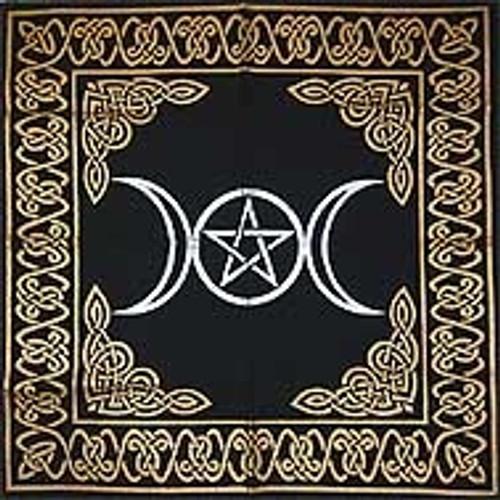 60cm Triple Moon Pentagram Altar or Tarot Cloth