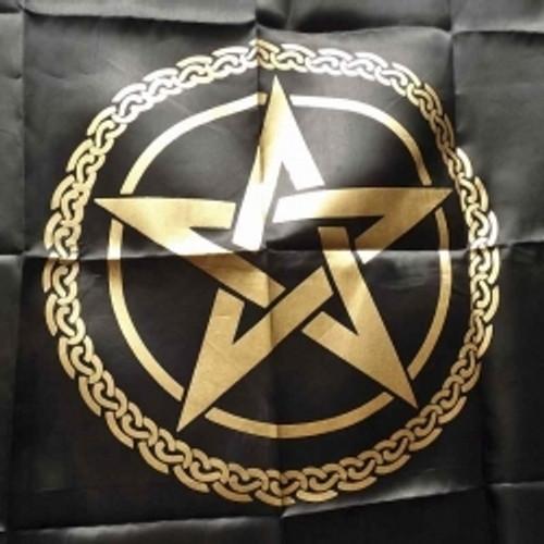 Black & Gold  Pentagram Altar or Tarot Cloth