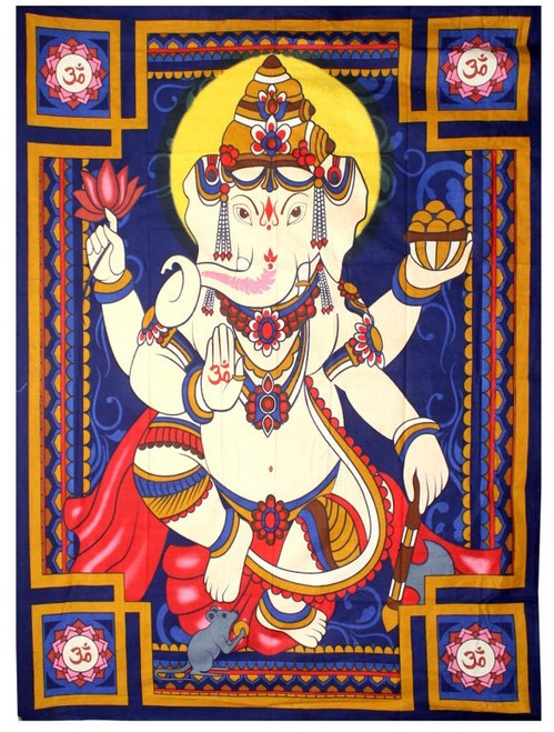 """Large Ganesh Wall Hanging / Tapestry  52"""" x 76"""" 100% Cotton"""