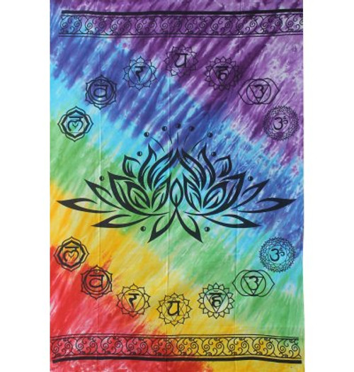 Rainbow Lotus Chakra Tapestry 100% Cotton