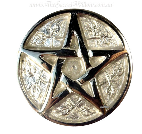 Silver Plated Pentagram Altar Tile 8cm
