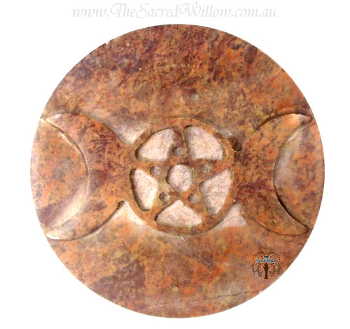 Soapstone Triple Moon Altar Tile7.5cm