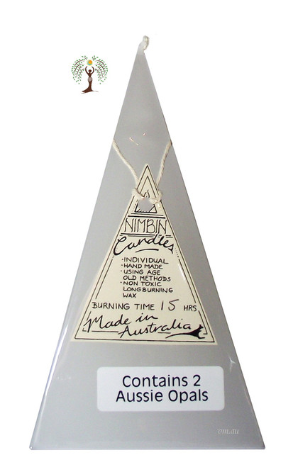 Hand Made Opal Lights Pyramid Candle