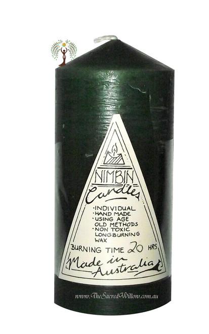 Dark Green Hand Made Church Pillar Candle
