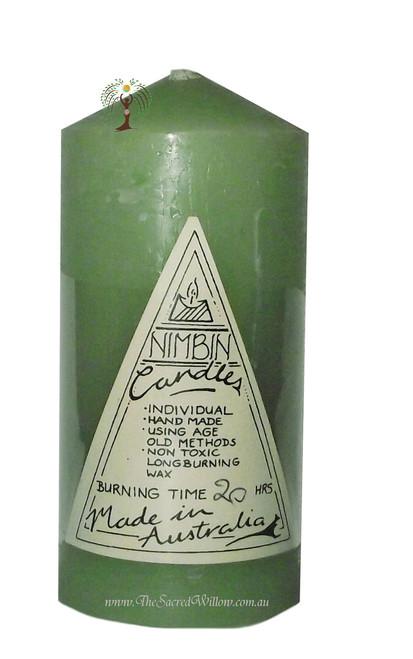 Light Green Hand Made Church Pillar Candle