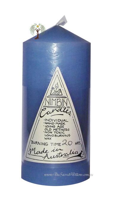 Light Blue Hand Made Church Pillar Candle