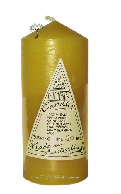 Yellow Hand Made Church Pillar Candle