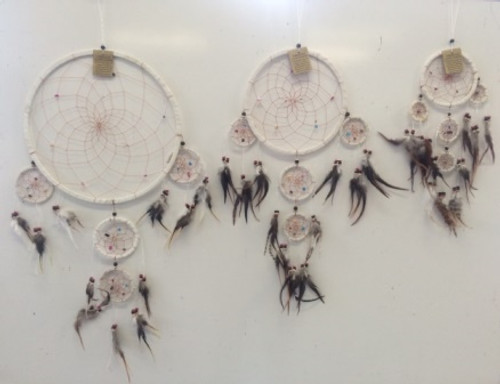 White Suede with Crystals Dream Catcher Small