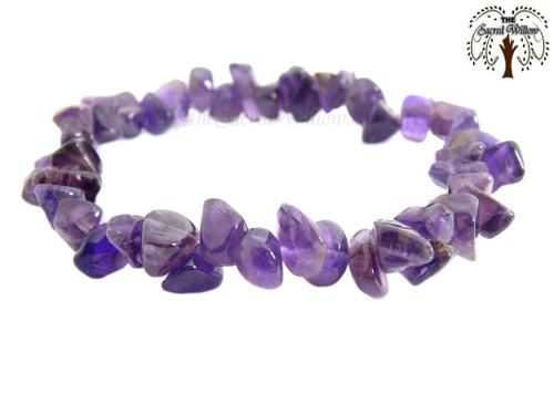 Amethyst Gemstone Chip Stretch Bracelet