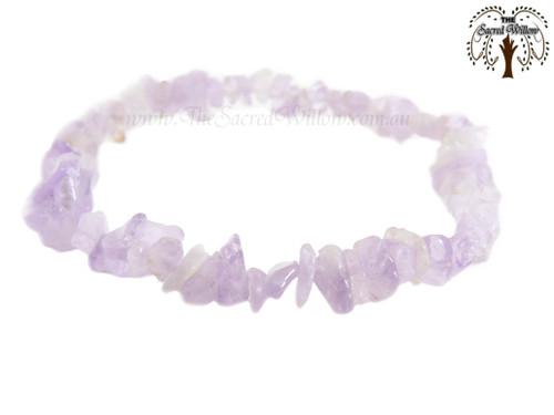 Amethyst Lavender (Africa) Gemstone Chip Stretch Bracelet