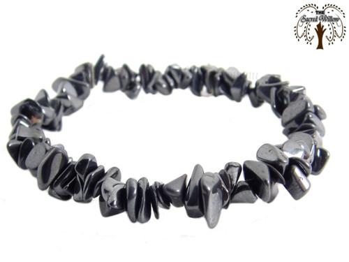 Hematite Gemstone Chip Stretch Bracelet