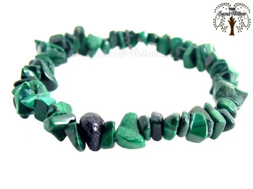 Malachite Gemstone Chip Stretch Bracelet