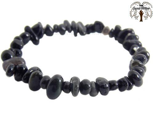 Black Obsidian Gemstone Chip Stretch Bracelet