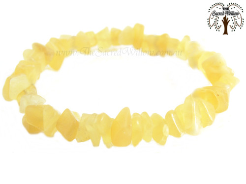 Orange Calcite Gemstone Chip Stretch Bracelet