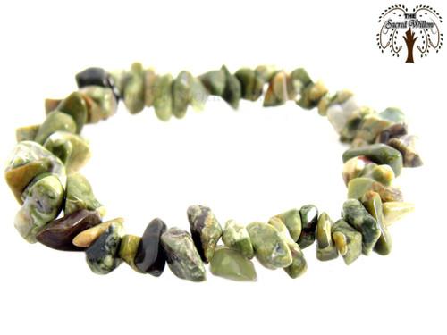 Rhyolite Gemstone Chip Stretch Bracelet