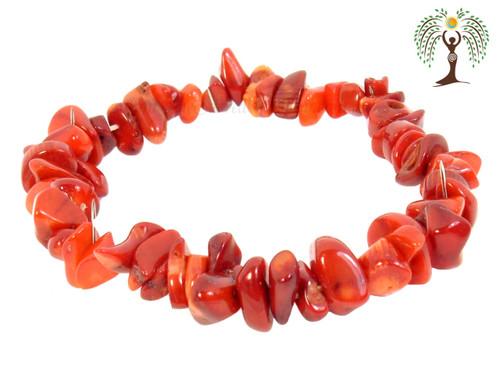 Red Sea Bamboo (Coral) Gemstone Chip Stretch Bracelet