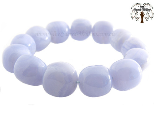 Blue Lace Agate Nugget Stretch Bracelet Tumbled Stones