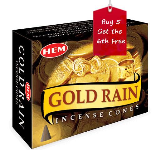 Gold Rain Hem Incense Cones