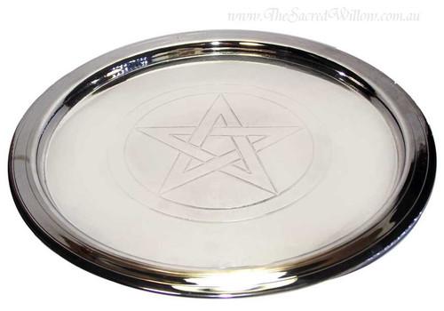 "Silver plated Pentagram Plate 8 1/2"""