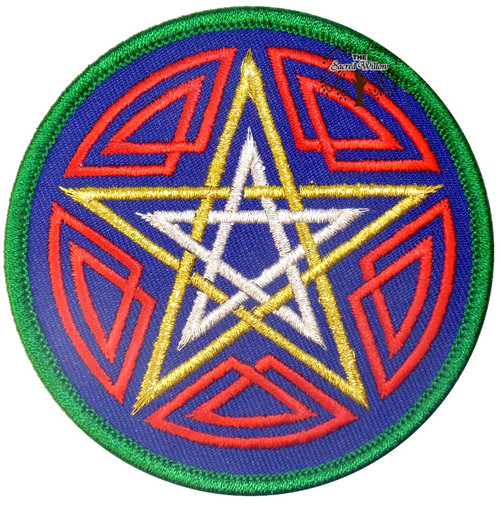 """Pentagram Embroidered 3"""" Iron On Patch"""