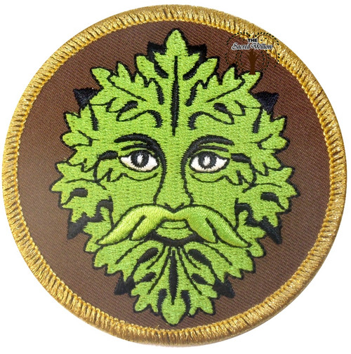 """Green Man Embroidered 3"""" Iron On Patch"""