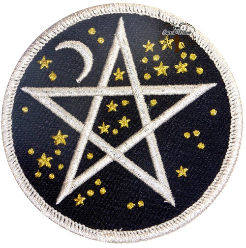 """Starry Pentagram Embroidered 3"""" Iron On Patch"""