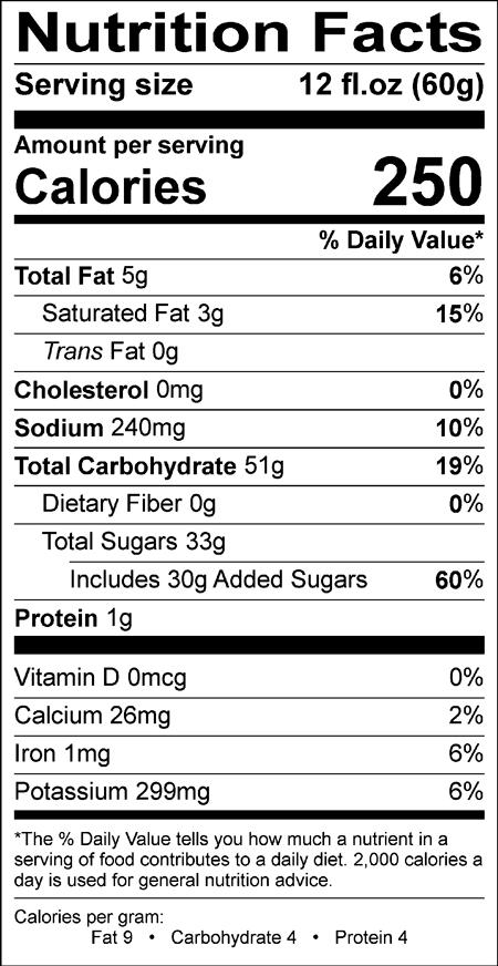 Gingerbread flavored Cappuccino Supreme Nutrition info