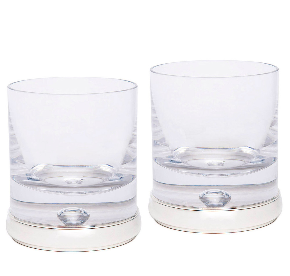 Crystalline Silvers: Sterling Silver & Crystal Whiskey Tumbler Set