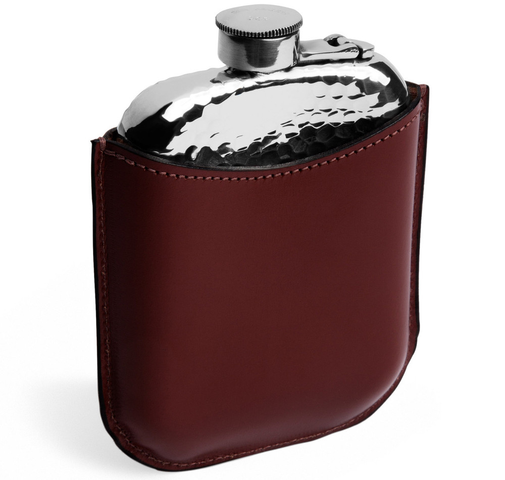 6oz Pewter Hammered Leather Encased Hip Flask