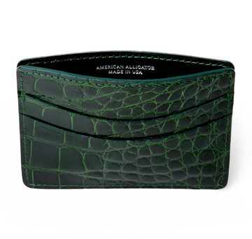Glazed Forest Green Alligator Card Holder