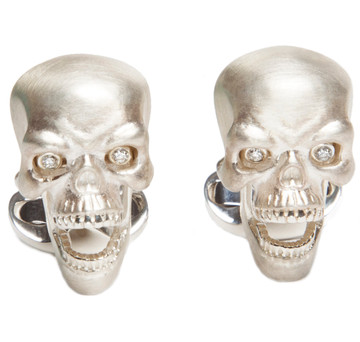 Sir Jack's Sterling Silver Skull & Diamond Eyes Cufflinks