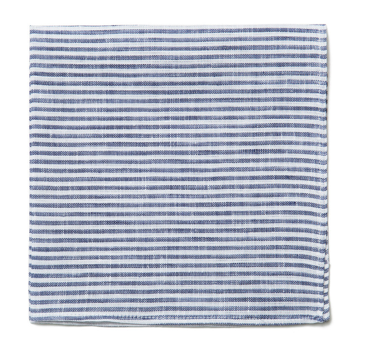 Navy & White Stripe Linen Pocket Square