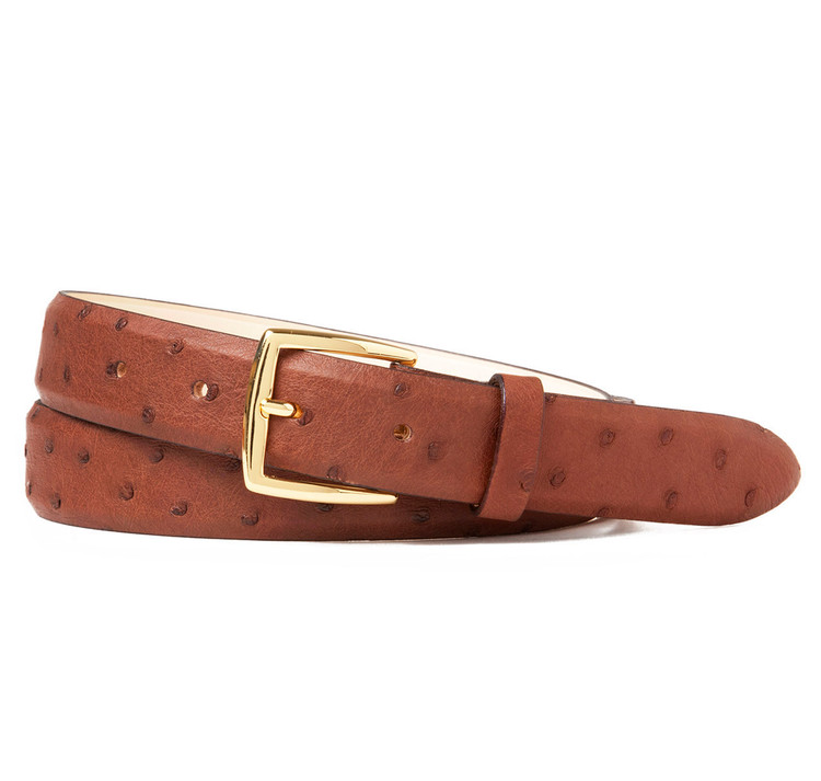 Ostrich belt in Brown