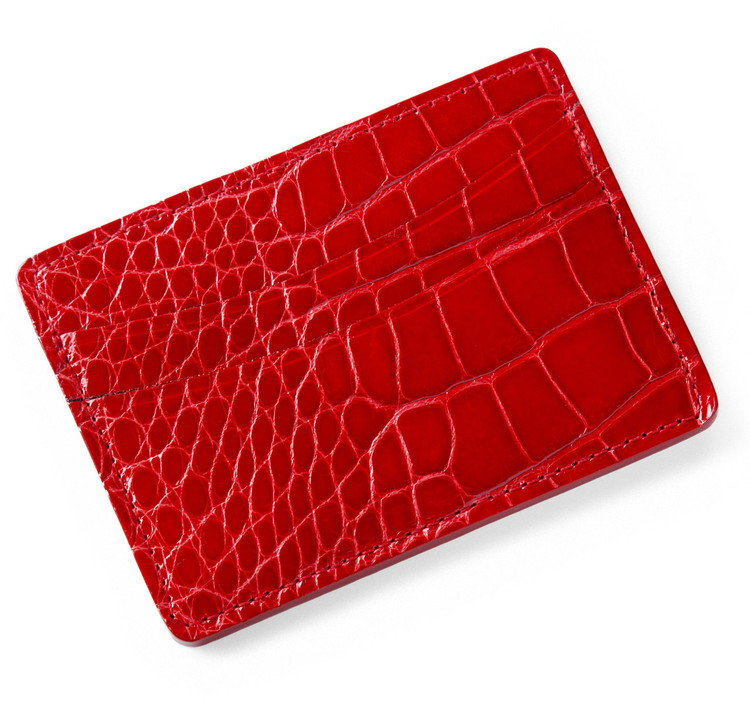 Glazed Red Alligator Credit Card Wallet