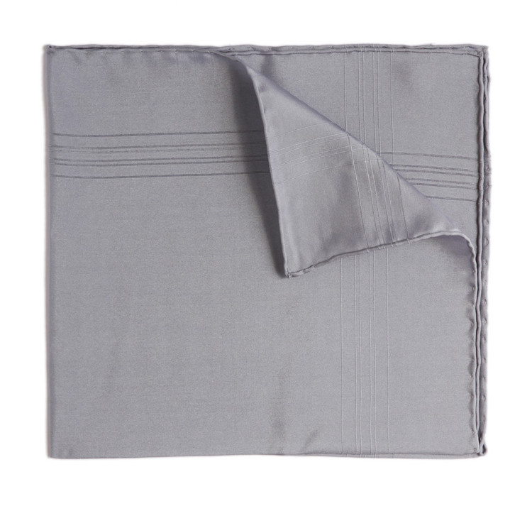 Benson & Clegg Grey Silk Pocket Square