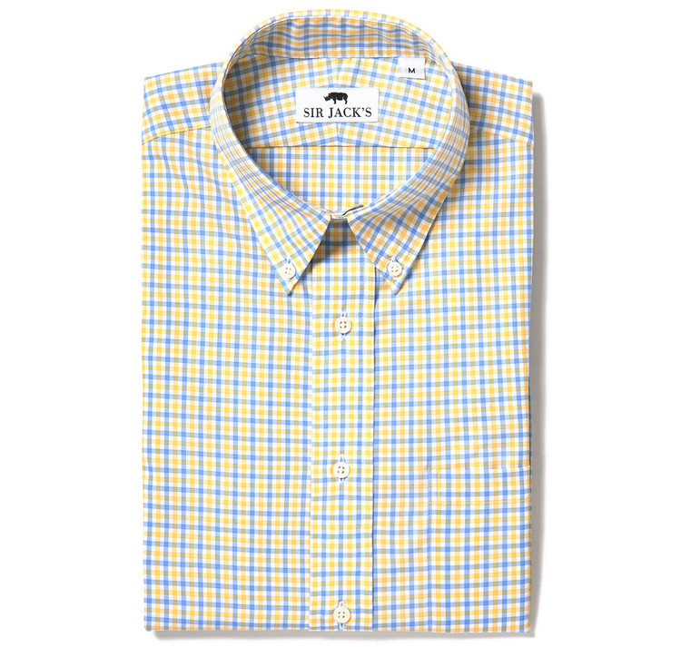 Sudbury Gingham Shirt in Yellow & Blue Check