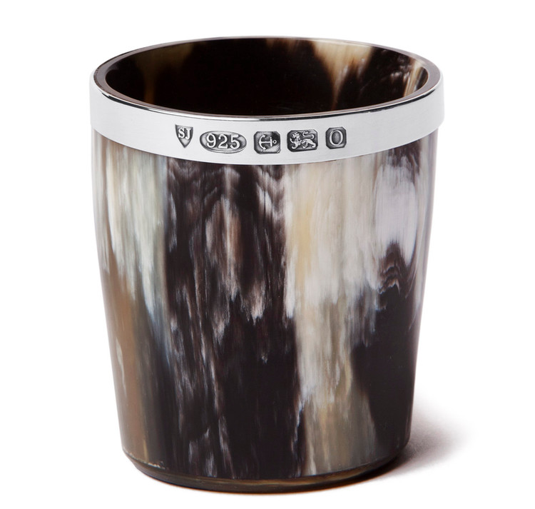 Sterling Silver Ox Horn Whiskey Tumbler